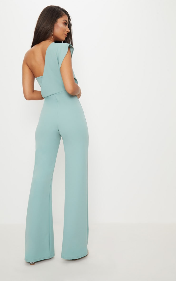 Mint  Drape One Shoulder Jumpsuit 2