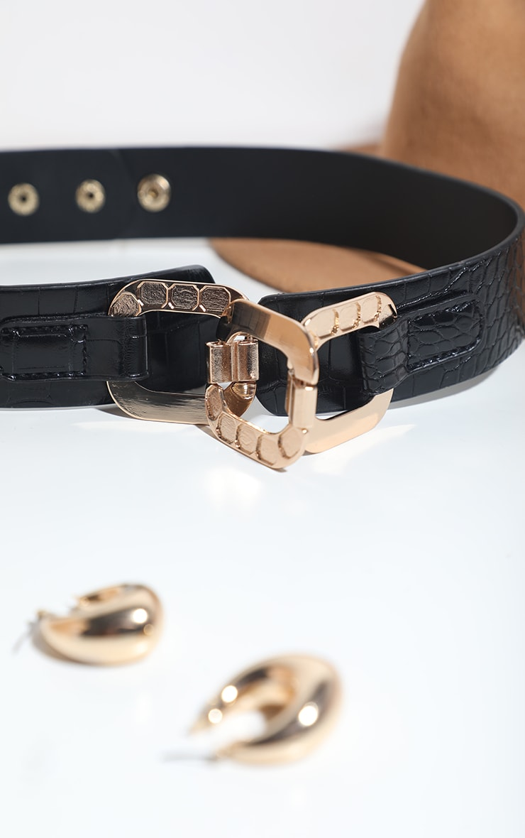 Black PU Croc Gold Rounded Chain Waist Belt 2