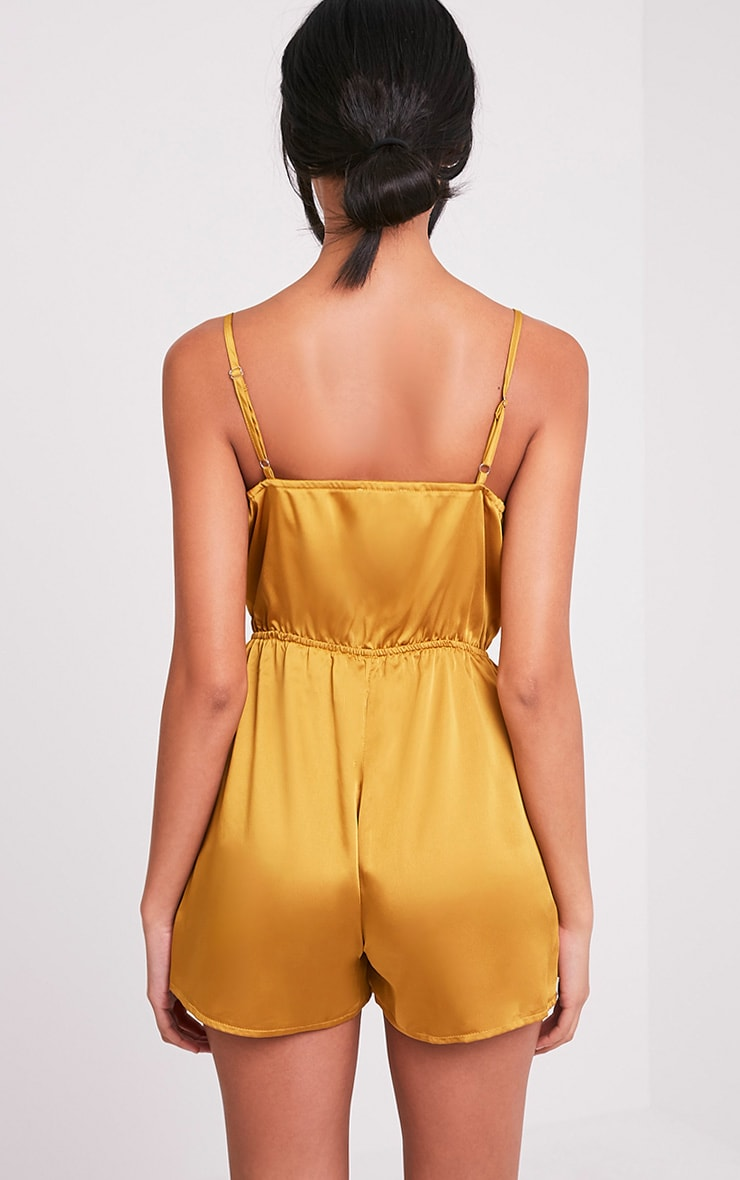 Rosilee Gold Strappy Satin Playsuit 2
