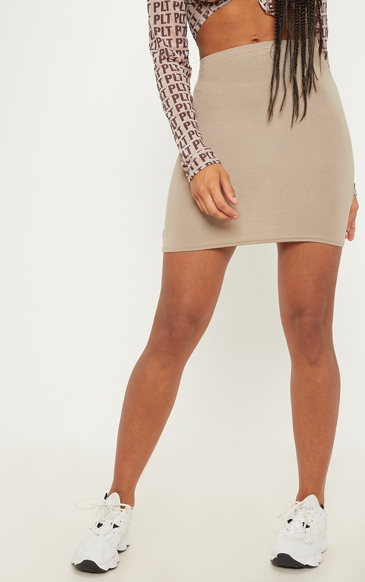 Black Taupe and Khaki Basic Jersey Mini Skirt 3 Pack 2