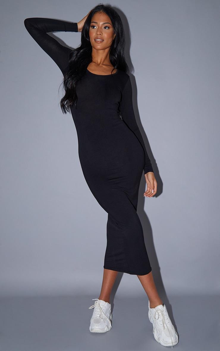 Tall Black Long Sleeve Jersey Maxi Dress 1