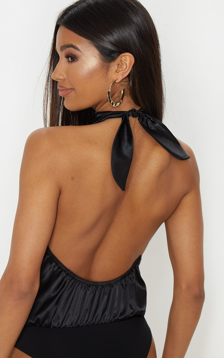 Black Halterneck Satin Bodysuit 2