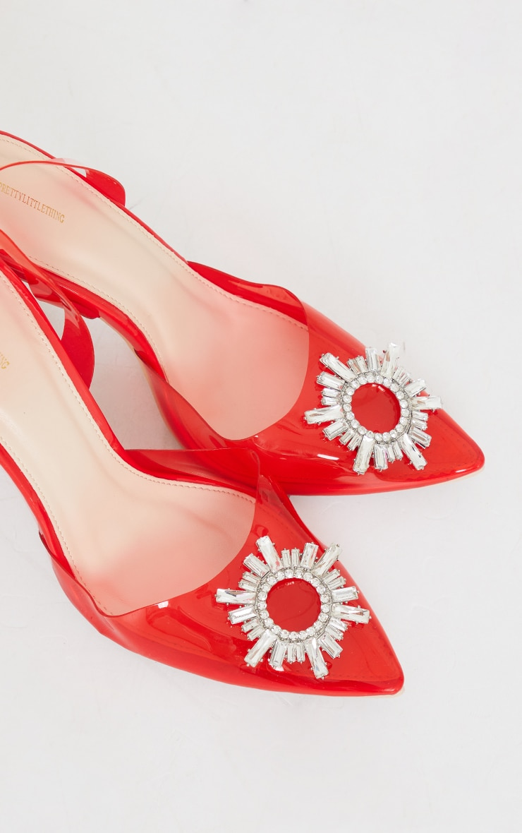 Red Clear Diamante Sling Back Cake Stand High Heels 3