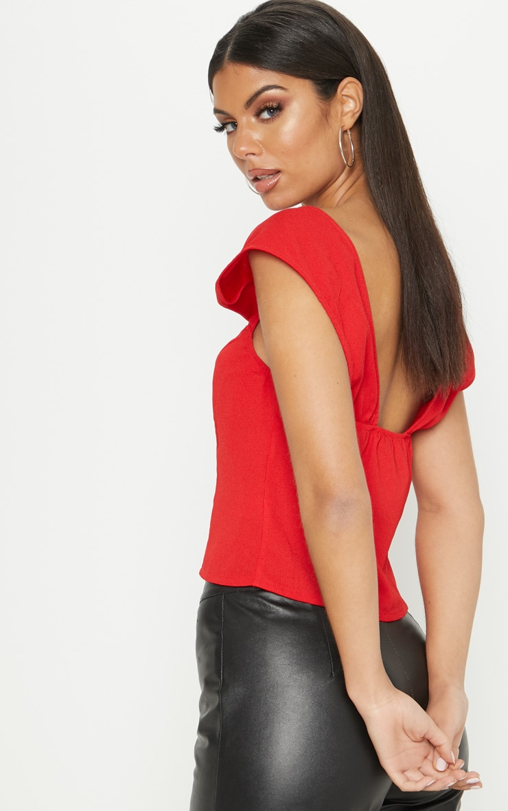 Red Button Detail Corset Top 2