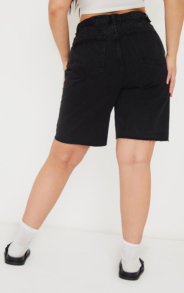 PRETTYLITTLETHING Plus Washed Black Longline Fitted Denim Shorts 3