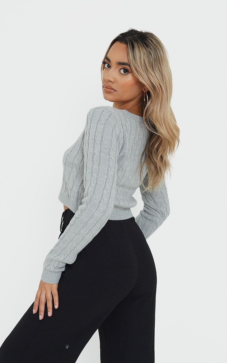 Petite Grey Cable Grey Button Up Cropped Cardigan 2
