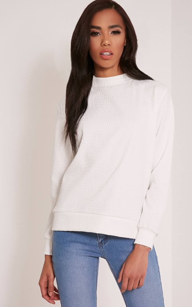 Mandy White Snakeskin Effect Sweatshirt 1