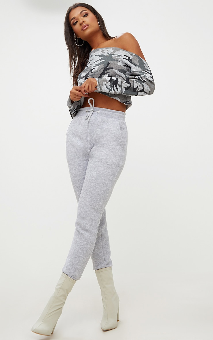 Grey Camo Off Shoulder Cropped Sweater 4