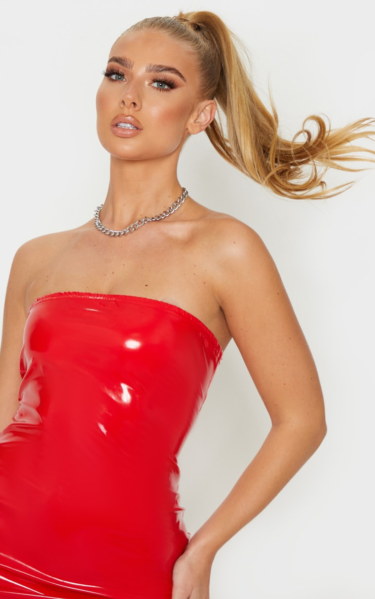 Red PU Bandeau Bodycon Dress 5