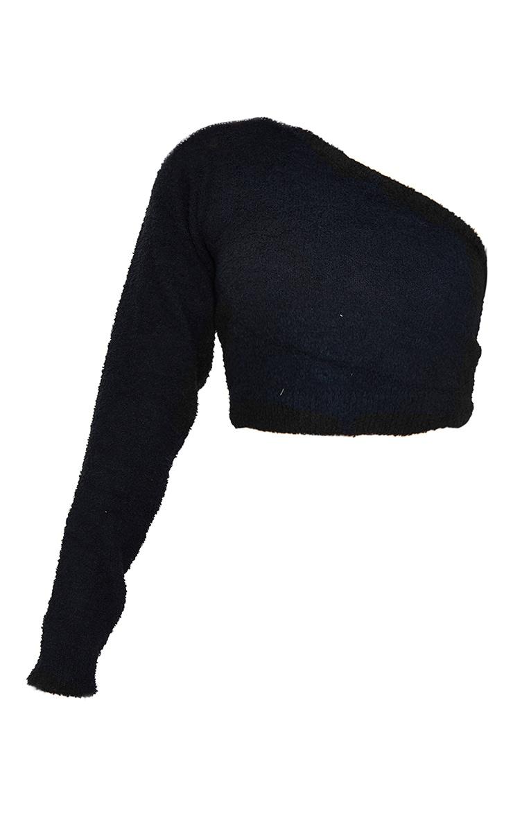 Black Chenille One Shoulder Crop Top 5