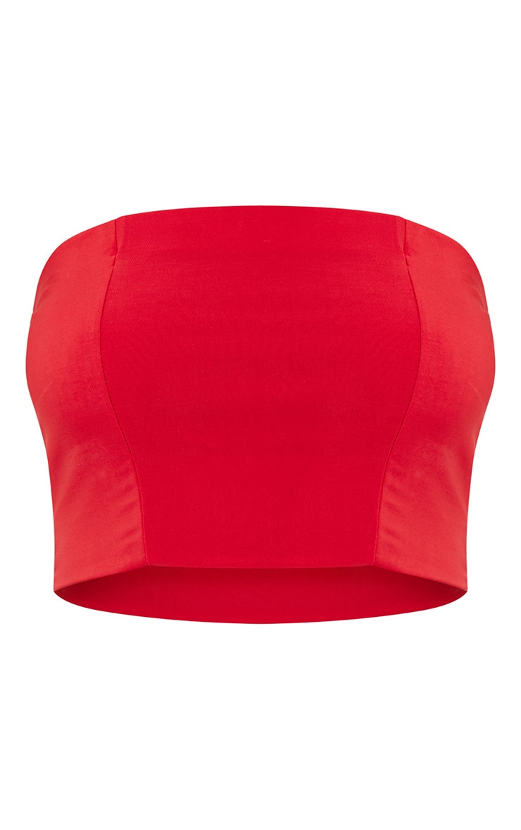 Crop top bandeau rouge 3