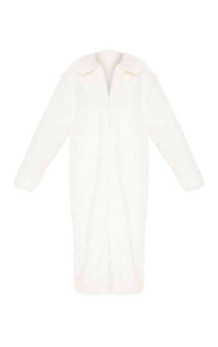 Cream Maxi Faux Fur Coat  3