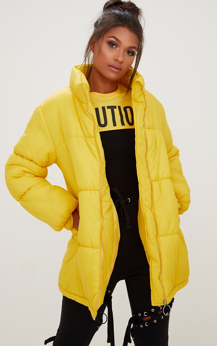 Yellow Ring Pull Longline Puffer Jacket 4