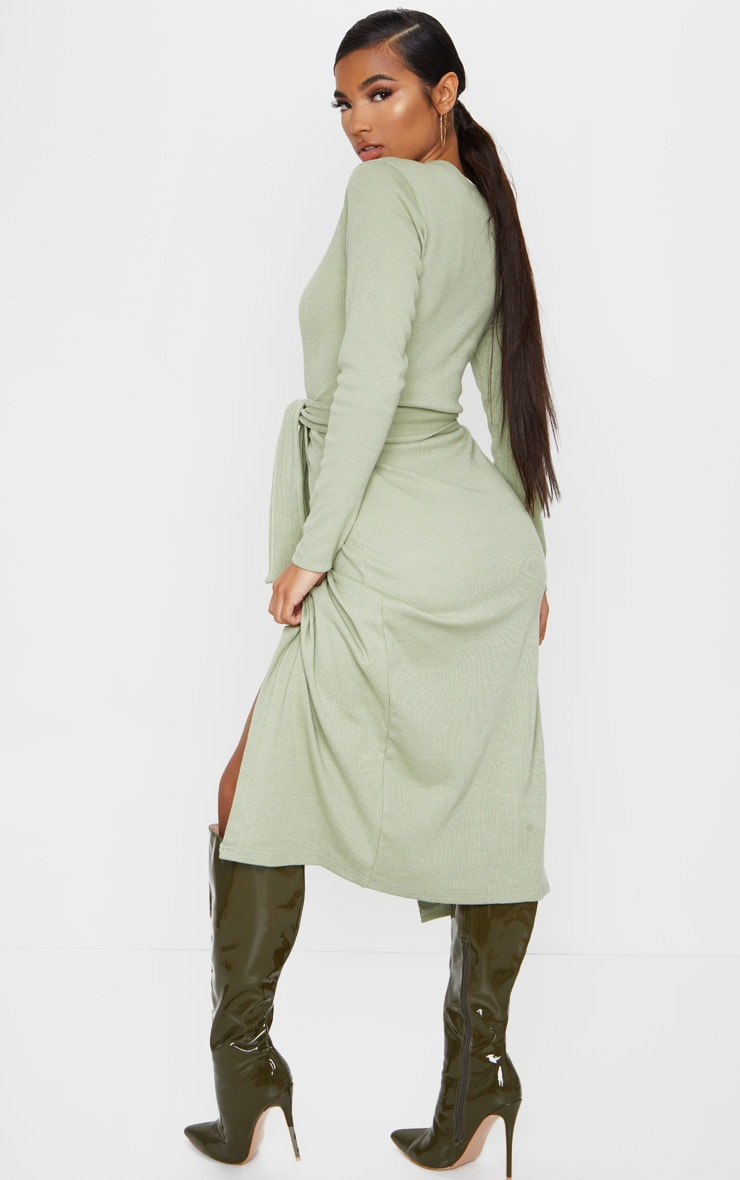 Sage Green Heavy Rib Tie Waist Wrap Midi Dress 2