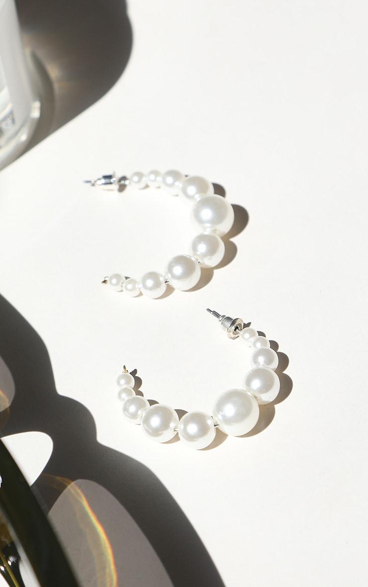 White Multi Size Pearl Hoop Earrings 1