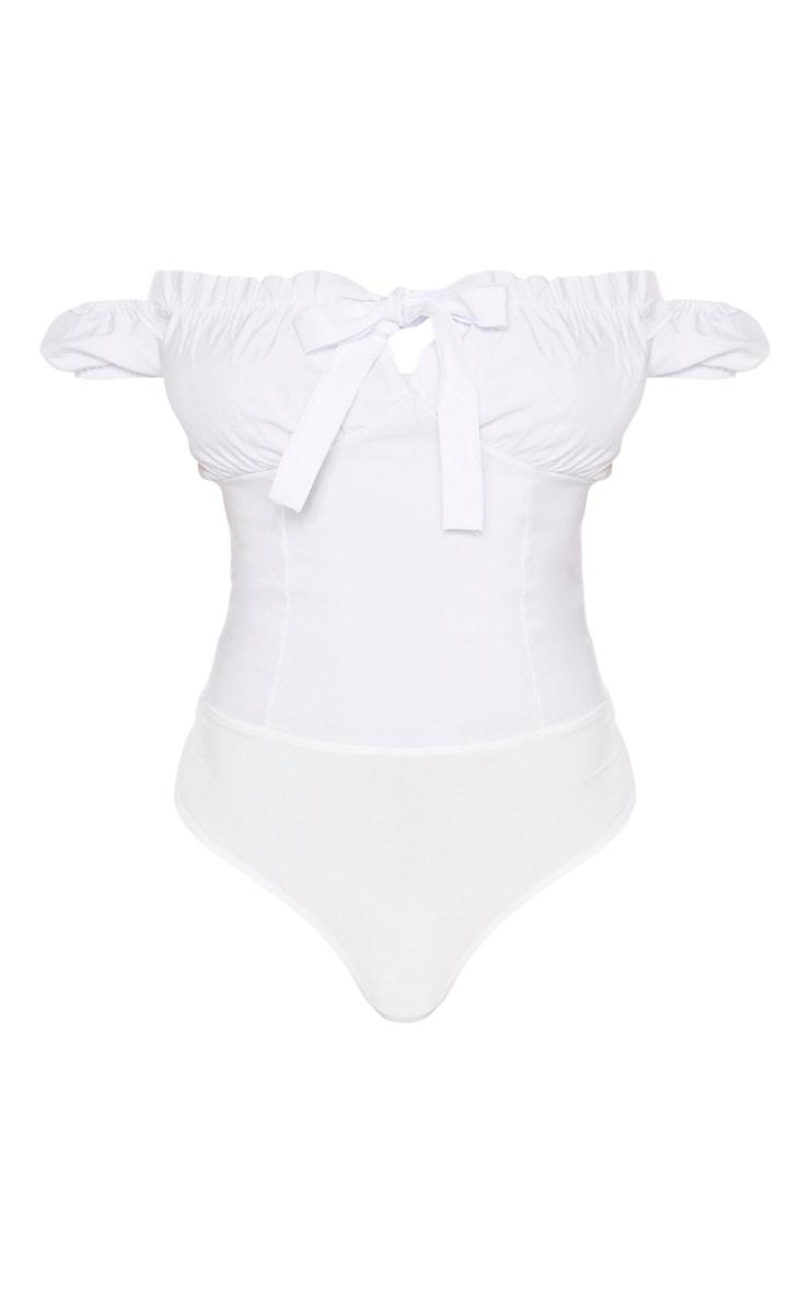 Tall White Woven Bardot Tie Front Bodysuit 3