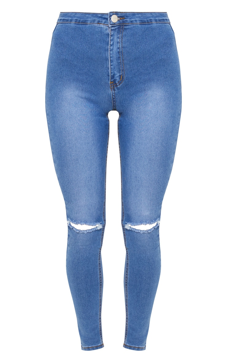 Mid Wash Knee Rip High Waisted Skinny Jean  3