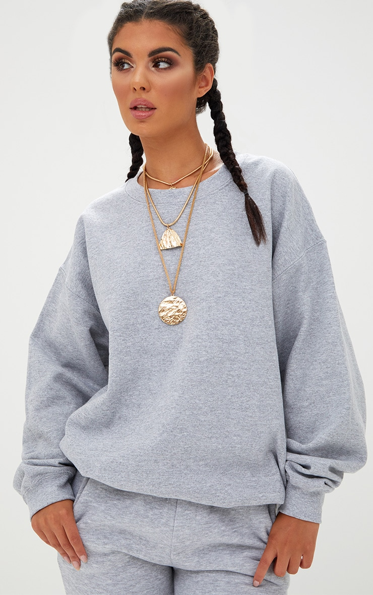 Ultimate Grey Marl Crew Neck Sweater 1