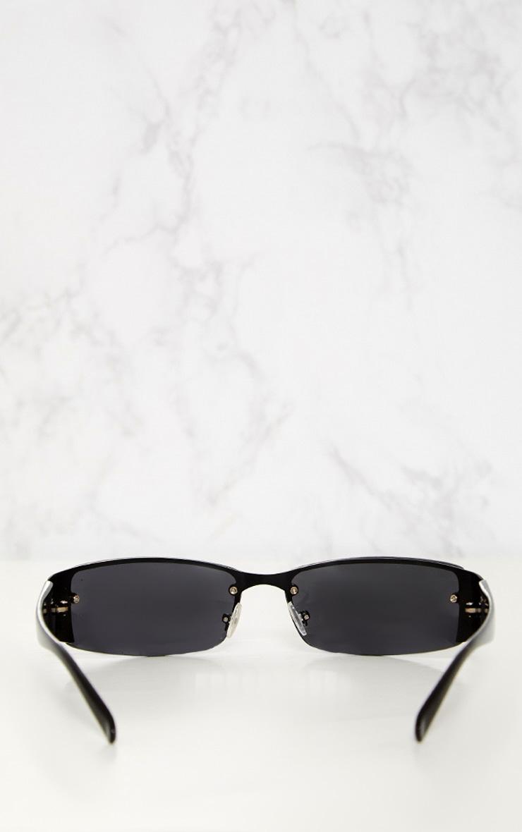 Black Thin Rectangle Retro Sunglasses 5