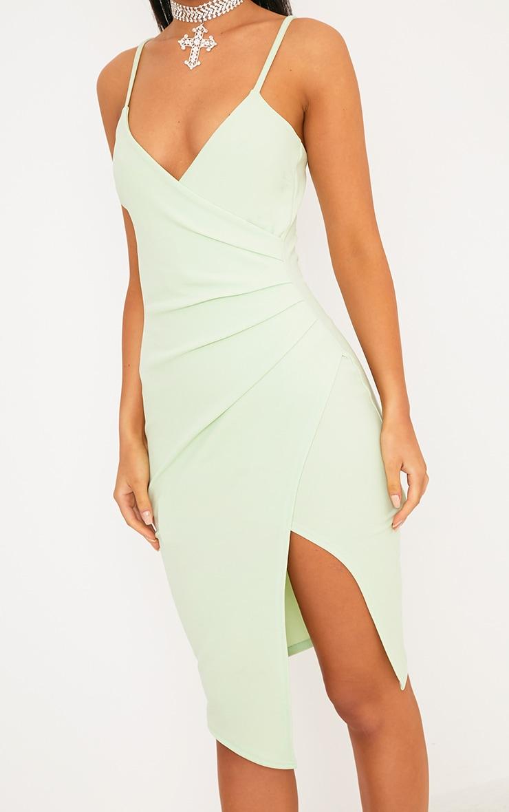 Lauriell Mint Wrap Front Crepe Midi Dress 4