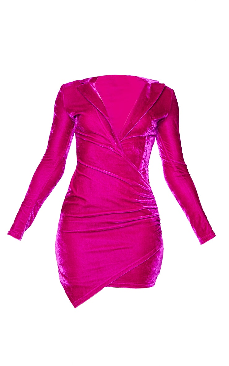 Fuchsia Velvet Long Sleeve Plunge Wrap Bodycon Dress 5