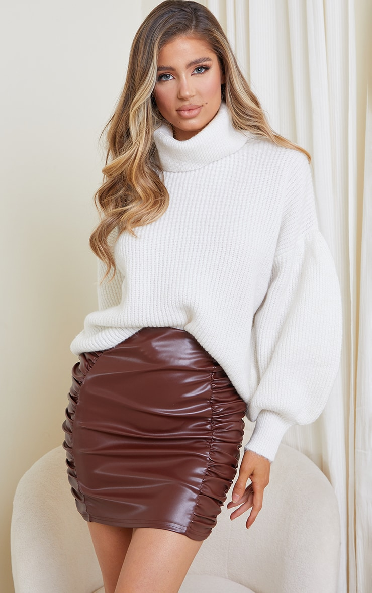 Chocolate Faux Leather Ruched Side Panel Mini Skirt 3