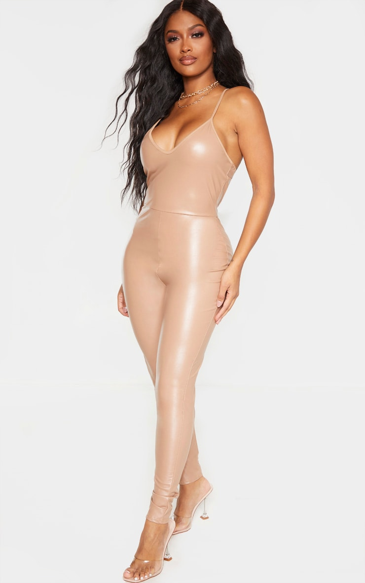 Shape Taupe PU Strappy Jumpsuit 4