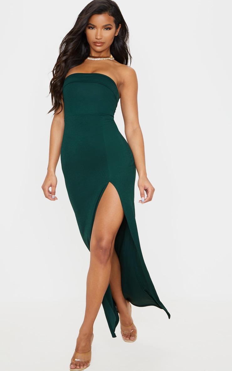 Emerald Green Bandeau Tie Back Maxi Dress 1