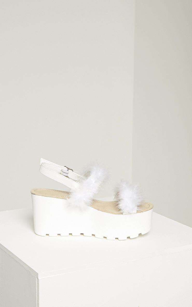 Chelo White Fluffy Strap Sandals 4