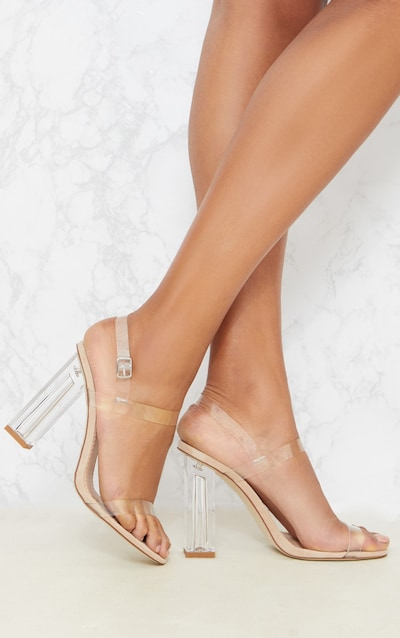 Clear Block Heel Strappy Sandal