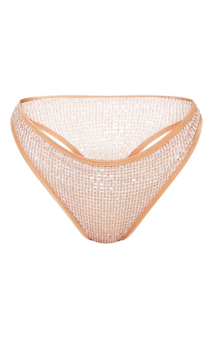 Rose Gold Sequin Bikini Bottom 3