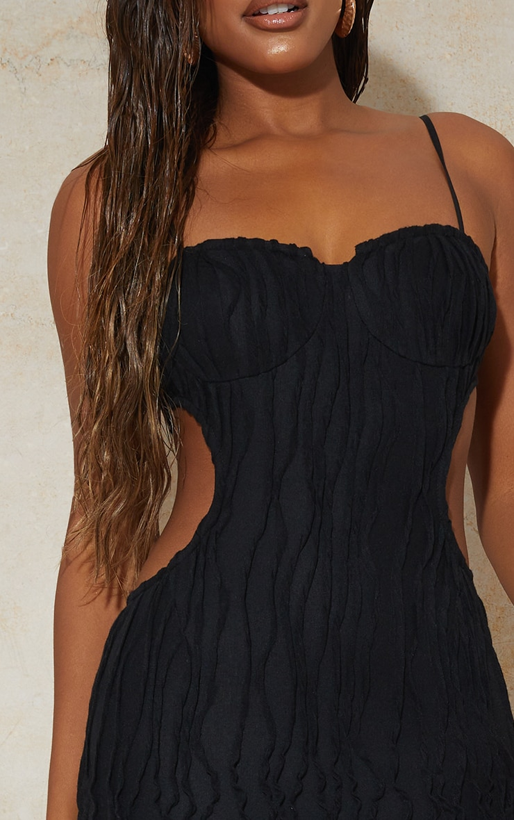 Black Exposed Seam Strappy Cut Out Cup Detail Midi Dress 4
