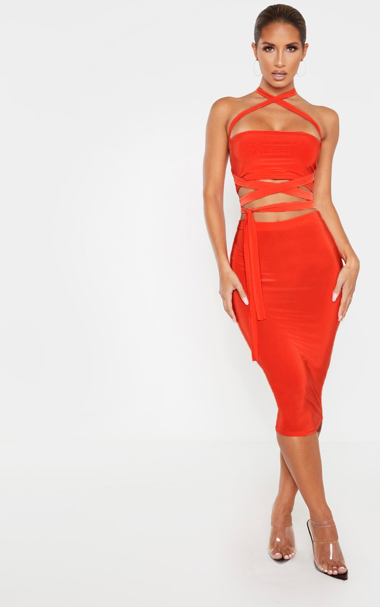 Bright Orange Slinky Midi Skirt 1