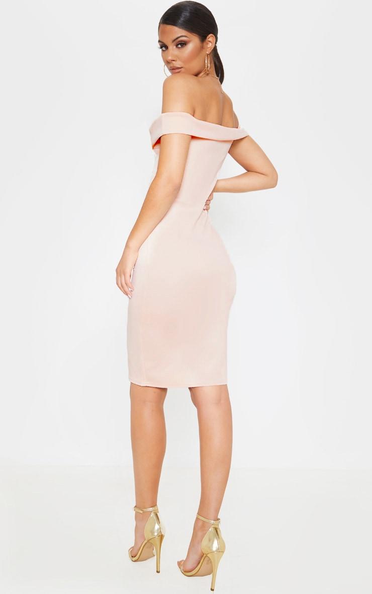 Nude Bardot Peplum Detail Midi Dress 2