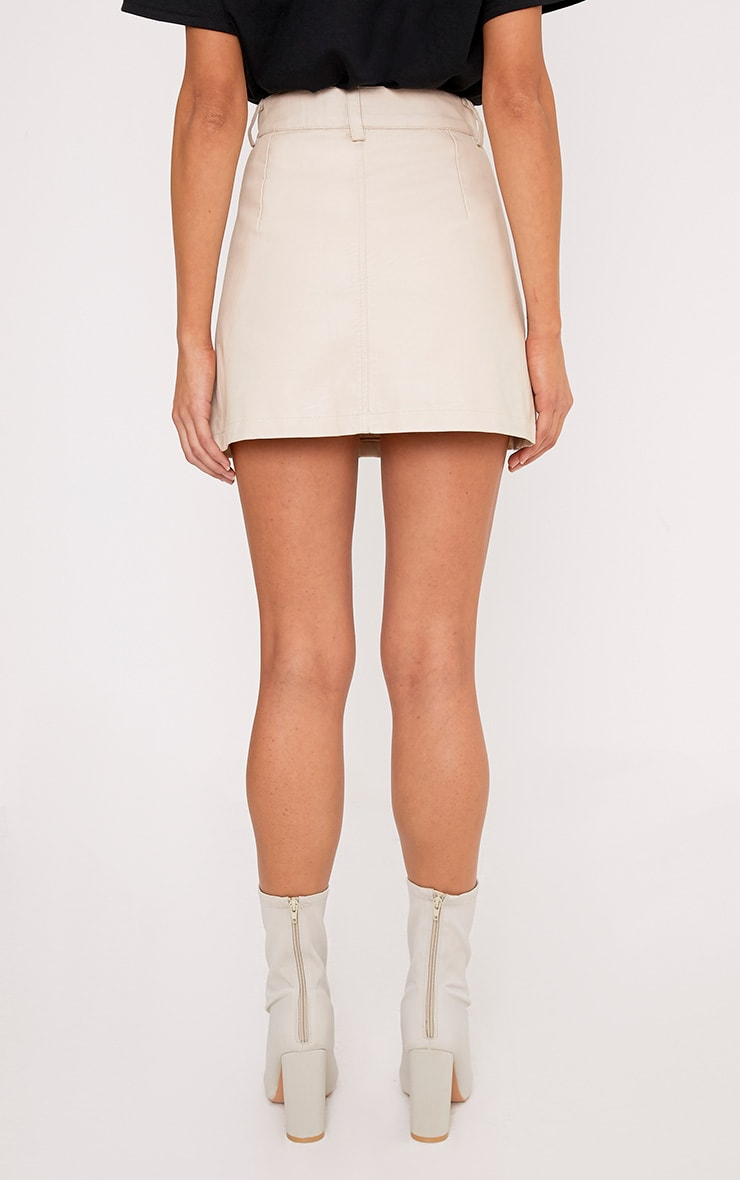 Ayanna Nude Faux Leather Button A-Line Mini Skirt 4
