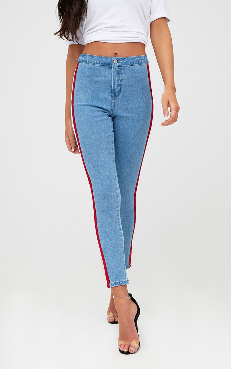 Mid Wash Sports Stripe High Waisted Skinny Jean 5