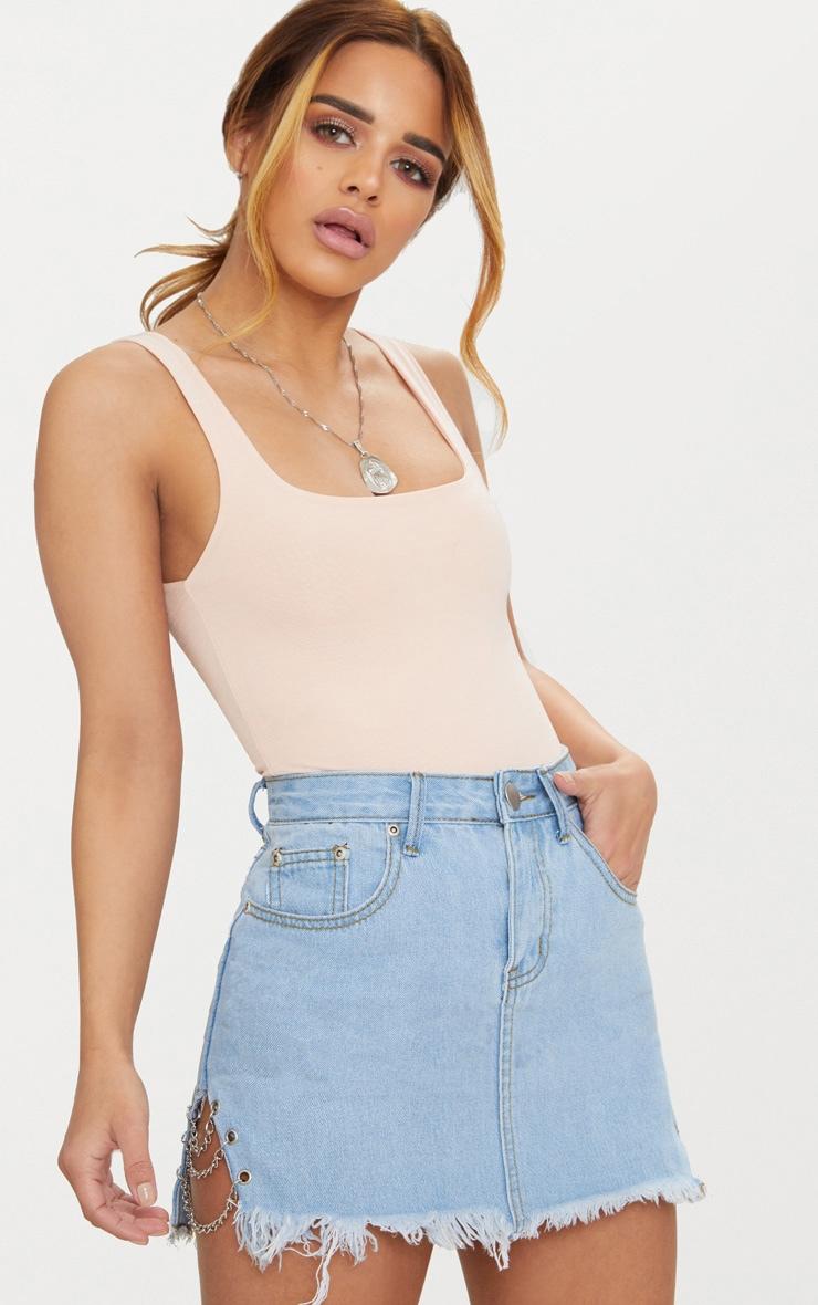 Petite Light Wash Chain Detail Denim Mini Skirt image 1