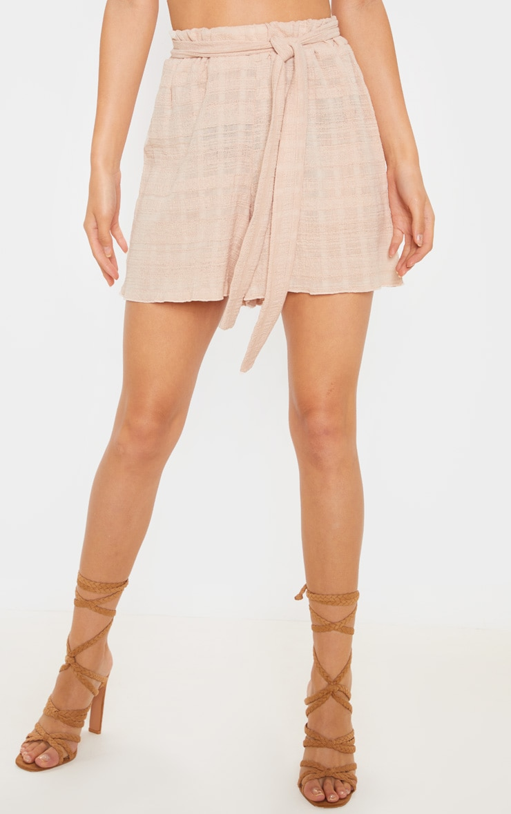Stone Linen Feel Textured Tie Waist Short 2