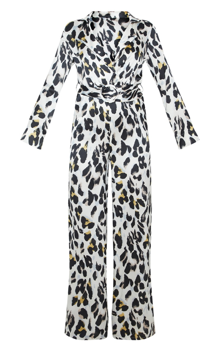 White Satin Leopard Belt Detail Wide Leg Jumpsuit 3