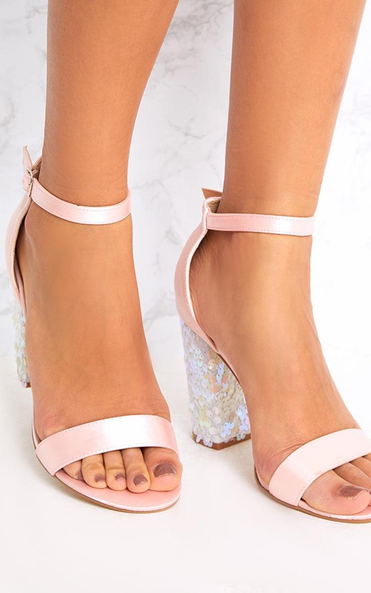 Kaya Ice Pink Sequin Heeled Sandals 2