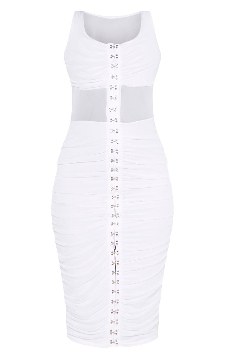 White Mesh Ruched Hook And Eye Midi Dress 3