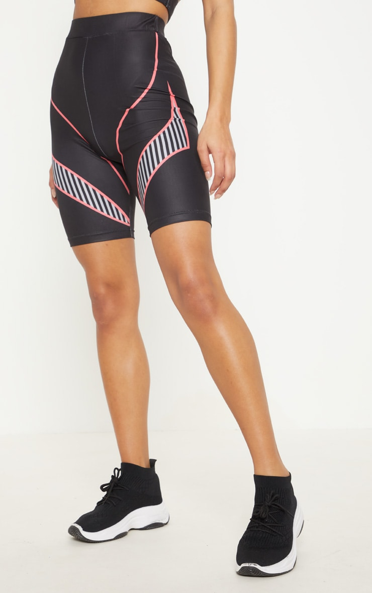 Black Contrast Thigh Cycle Short 2