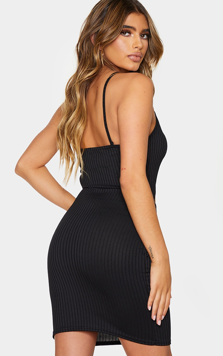 Black Ribbed Cut Out Centre Strappy Bodycon Dress 2