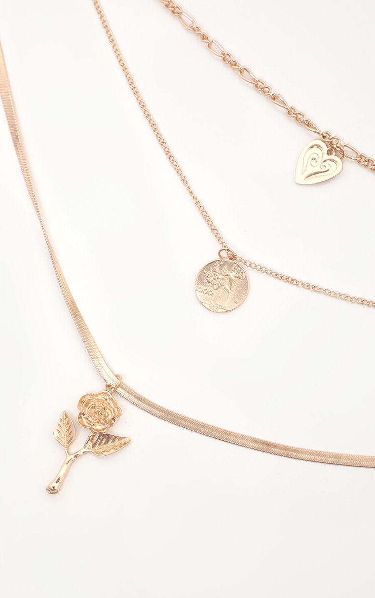 Gold Rose Coin And Heart Multi Layer Necklace 1
