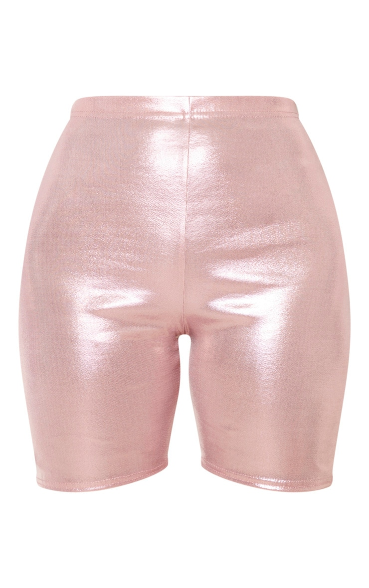 Pink Metallic Slinky Foil Bike Short 3