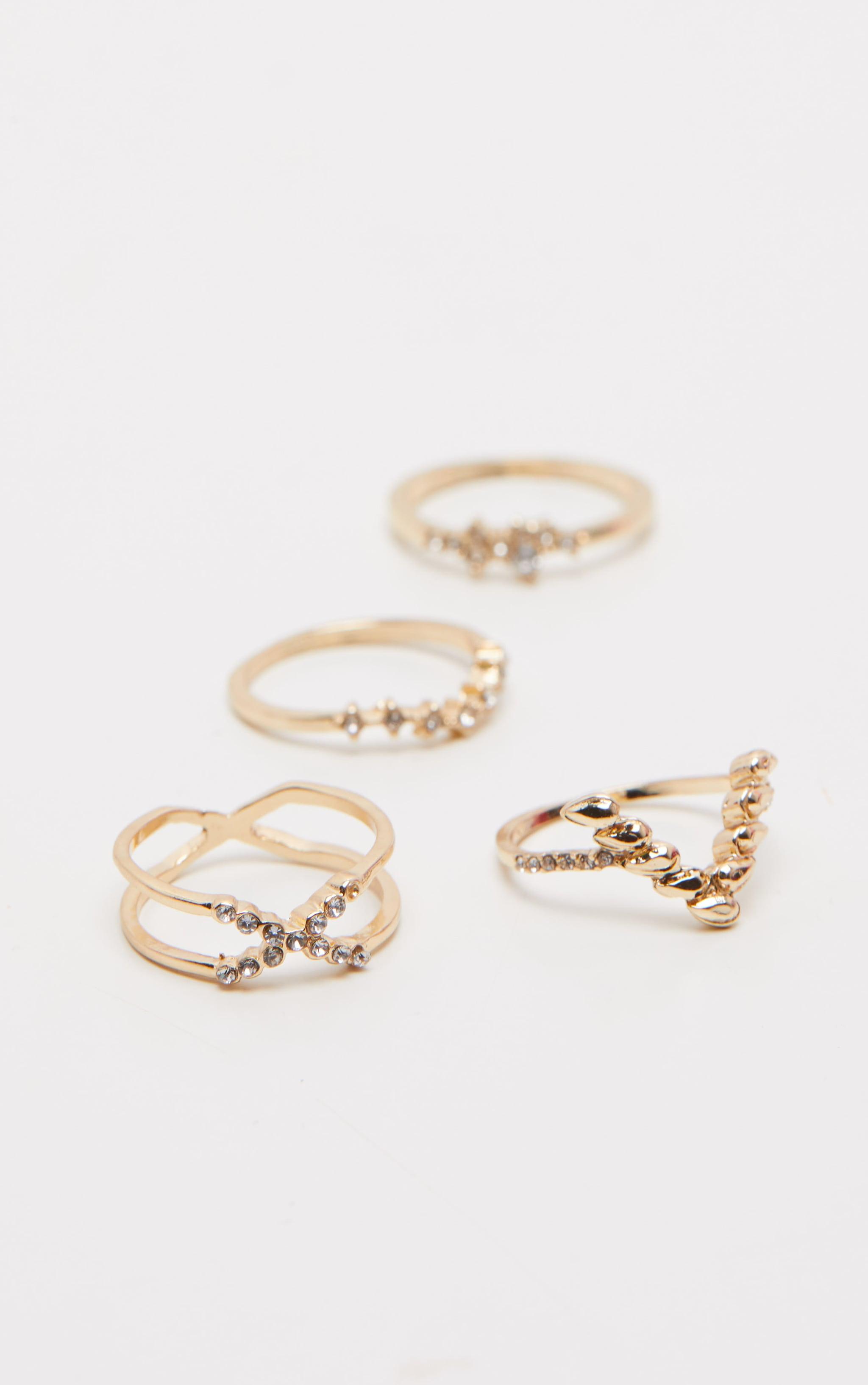 Gold Diamante Four Set Stacking Rings 1