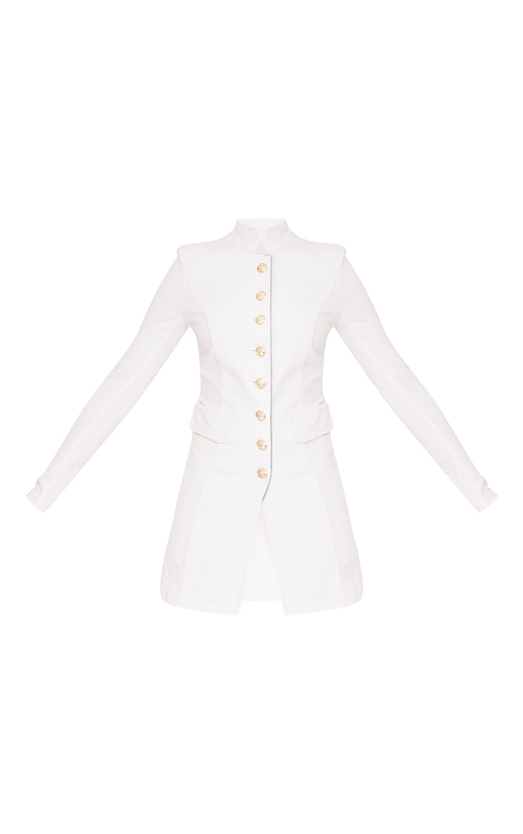 Deleana White Longling Military Style Jacket 3