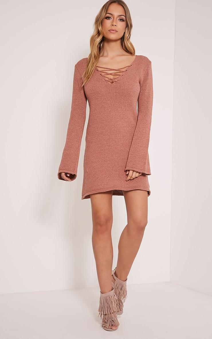 Nena robe manches cloche tricotée rose foncé 6
