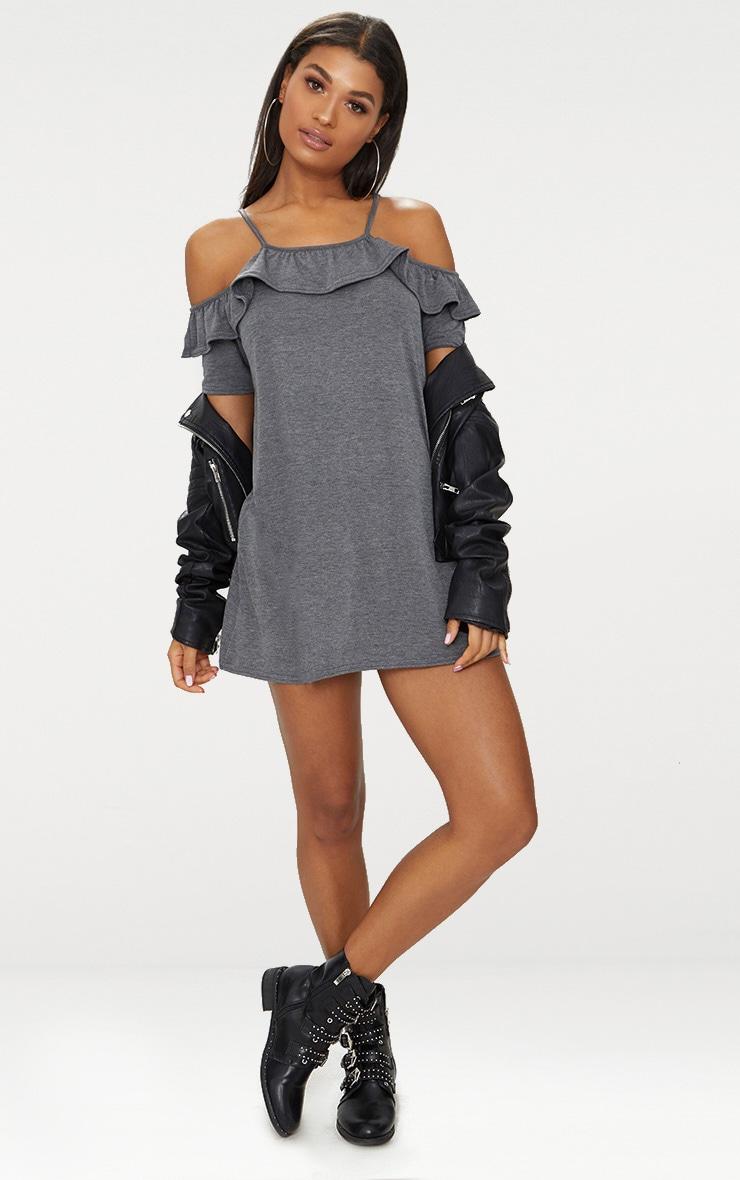 Charcoal Jersey Cold Shoulder Shift Dress 4