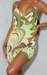 Green Abstract Print Slinky Strappy Wrap Detail Bodycon Dress 4